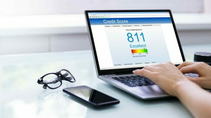 a person checking their credit score online