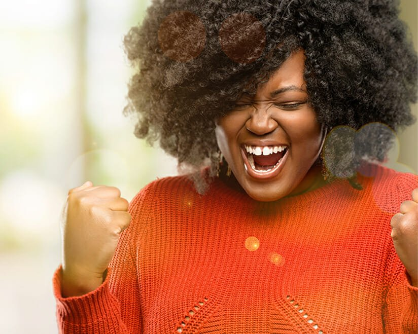 Enthusiastic smiling woman